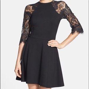 BB DAKOTA -black lace flared dress